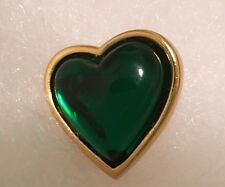 YVES SAINT LAURENT Green Heart Pin Rive Gauche YSL France Signed Vintage