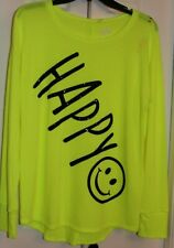 New Justice Girls Top Tunic Long Sleeve Embellished Neon Happy Print Size 20