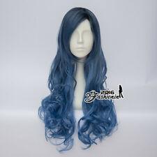 80CM Mixed Blue Ombre Lolita Long Curly Party Cosplay Wig Heat Resistant+Wig Cap