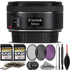 Canon EF 50mm f/1.8 STM Lens 0570C002 + 3PC FILTER + 64GB STORAGE BUNDLE KIT