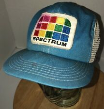 Vintage SPECTRUM 80s USA K-Products Blue White Trucker Hat Cap Snapback RAINBOW
