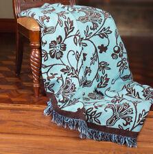 Chocolate Blues ~ Blue/Brown Vining Tapestry Afghan Throw