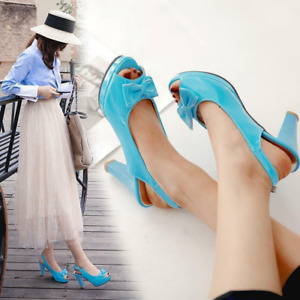 Women High Heels Slingback Bowknot Stiletto Sandals Peep Toe Dress Shoes Lolita
