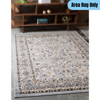 5 x 8 feet Traditional Area Rug Bordered Vintage Oriental Floral Pattern Gray