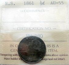 1861 Nova Scotia Half 1/2 Cent ICCS Graded AU-55 BEAUTIFUL AU-UNC Victoria NS ½¢