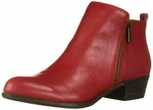 Lucky Brand Women's Basel Garnet Red Leather Low Cut Ankle Booties