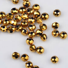 100 pcs 3x2mm Chinese Crystal exquisite Glass Beads Faceted Rondelle Golden/*