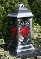 Grablaterne Grablampe Herz 36cm Silber Grabschmuck Grableuchte inkl. Grablicht
