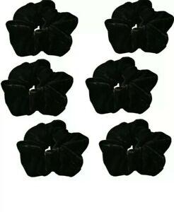 SET OF 6 BLACK LARGE 12CM VELVET HAIR SCRUNCHIES
