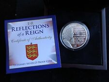 2015 SILVER PROOF GUERNSEY £5 COIN BOX + COA REFLECTIONS OF A REIGN 1/2015