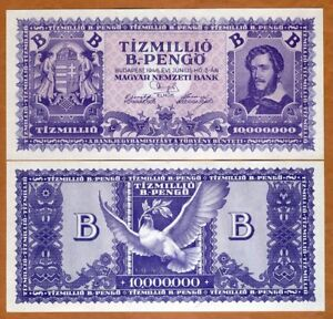 Hungary, 10,000,000,000,000,000,000 pengo 1946, P-135 aUNC-UNC