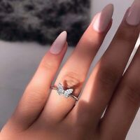 Women 925 Silver Butterfly White Topaz Band Ring Wedding Jewelry Gift Size 6-10
