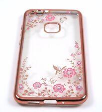 Handy Hülle Blumen Pink  Case Glitzer Strass Silikon Huawei P10 lite