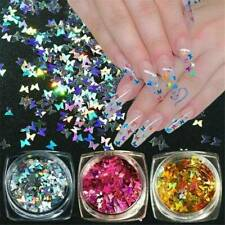 Nail Art Glitter BUTTERFLY Holographic 3D SHAPE Shining Decoration AU