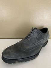 Donald J Pliner Marty Suede Gray Oxford Shoes Size 11 Wingtip Lace Up