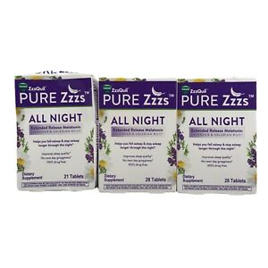 Vicks ZzzQuil Pure Zzzs All Night Extended Release Melatonin 77 tablets 3/2022+