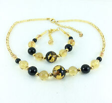 Murano Necklace & Bracelet Gift Set, Genuine Hand Made 18k Gold + Black Beads