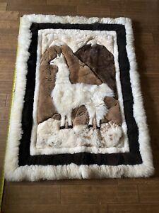 """Vintage Beautiful Alpaca Llama Fur Rug Wall Hanging  64"""" x 44""""  Huge"""