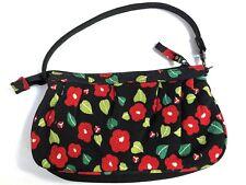 Unused Japanese Rayon Chirimen Handbag in Tsubaki Camillia Blossom Print