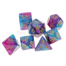 MagiDeal 7pcs Polyhedral Dice for D&D RPG MTG Party Game Toy Set Purple Blue