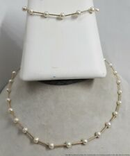 14K 585 Yellow Gold Syn Pearl Necklace Bracelet Set or Long Necklace Jewelry