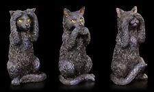 Drei schwarze Katzen Figuren - Nichts Böses sehen sagen hören - Lustig Geschenk