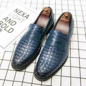 Mens Pointy Toe Work Office Oxfords Slip on Loafers Dress Formal Business Shoes