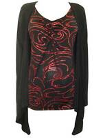 New Captive plus size 14/16 18/20 22/24 26/28 black and red glitter top blouse