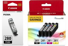 Geniune Canon CLI-281 4-Color Ink Tank Value Pack + Canon PGI-280 Black Ink Tank