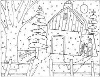 RUG HOOK CRAFT PAPER PATTERN Snow Barn FOLK ART PRIMITIVE Karla Gerard