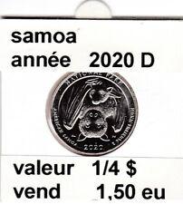 pièces de 1/4 $  samoa  2020 D