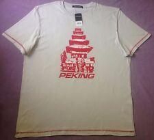 New Topman Peking China World City Logo T-Shirt Stone Beige Cotton XL 44 - 47