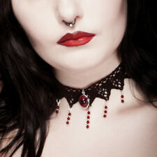 Victorian gothic choker lace RUBY RED necklace goth victorian steampunk wedding