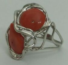 Natural red coral ring sterling silver, adjustable measure, barroque cabochon
