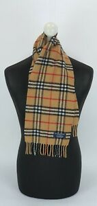 BURBERRY SCARF 100% LAMBSWOOL EXTRA SMALL MADE IN ENGLAND BEIGE M2