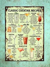 Classic Cocktail Recipes Metal Signs Retro Poster Iron Plate Pub Bar Decor