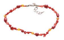 Russian Red & Blush Orange Crystal & Beads Adjustable Cute Bracelet(Zx177)