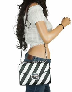 MICHAEL KORS ROSE MEDIUM FLAP SHOULDER BAG PVC LEATHER MK SIGNATURE BLACK WHITE