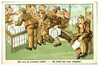 Antique military WW1 printed cartoon postcard She forgot me again soldiers post