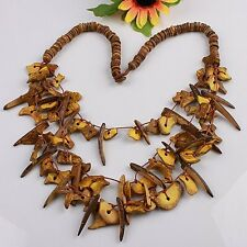 "NEW Yellow Handmade Coconut Shell Stick Irregular Beads 3-row Necklace 22""L 1pcs"