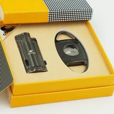 Gray Chrome Torch Jet Flame Cigar Cigarette Lighter W/Punch Cutter Set COHIBA