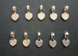 10 x Heart Shaped Glue On Bail, Pendant Bails For Resin, Polymer Clay Cabochons