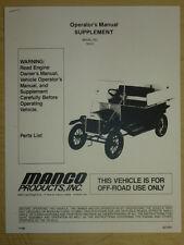 Manco 763-01 Go-Kart Supplement Operator Parts List Manual Cart