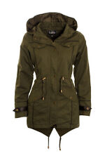 Womens Hooded parka jacket ladies canvas coat parka jacket 8 10 12 14 16