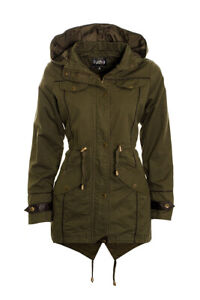Womens Hooded parka jacket ladies canvas coat parka jacket 8 10 12 14 16