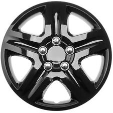 "1 PC Hub Cap Snap On (Steel Clips) 16"" inch ICE BLACK GLOSSY  Wheel Cover Caps"