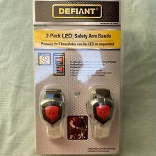 Defiant 2 Pack Red Led Safety Arm Bands 2 Modes Adjustable Strap Flashing New