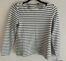Country road black white stripe cotton long sleeve tee tshirt top size small...