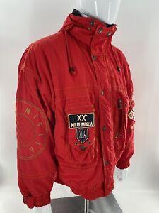 VTG Bogner Mens Mille Migli Snow Ski Jacket Red  Zip Front Embroidered