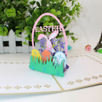 AB_ EB_ Handmade 3D Pop up Easter Rabbit Greeting Card Postcard Souvenir Gift Ca